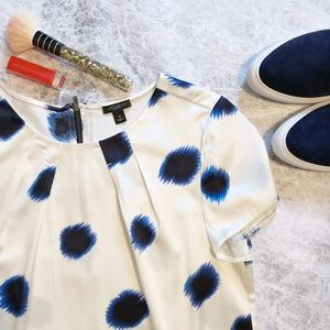 Ann Taylor Blue Spot Silk Blouse NWOT